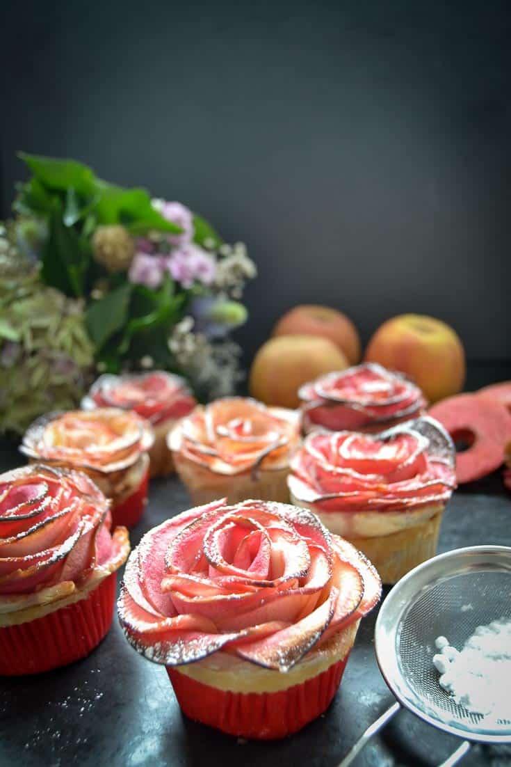 Apfelrosen Muffins, Apfelrose kinderleicht gebacken