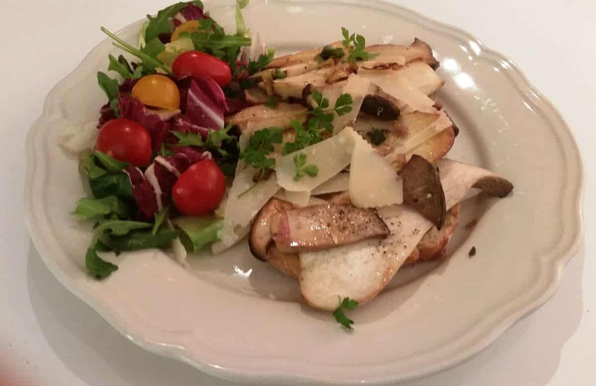 Kräuterseitling mit Parmesan , Salat kochen aus liebe