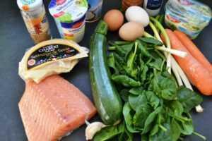 Zutaten Quiche mit Lachs Möhren und Zucchini