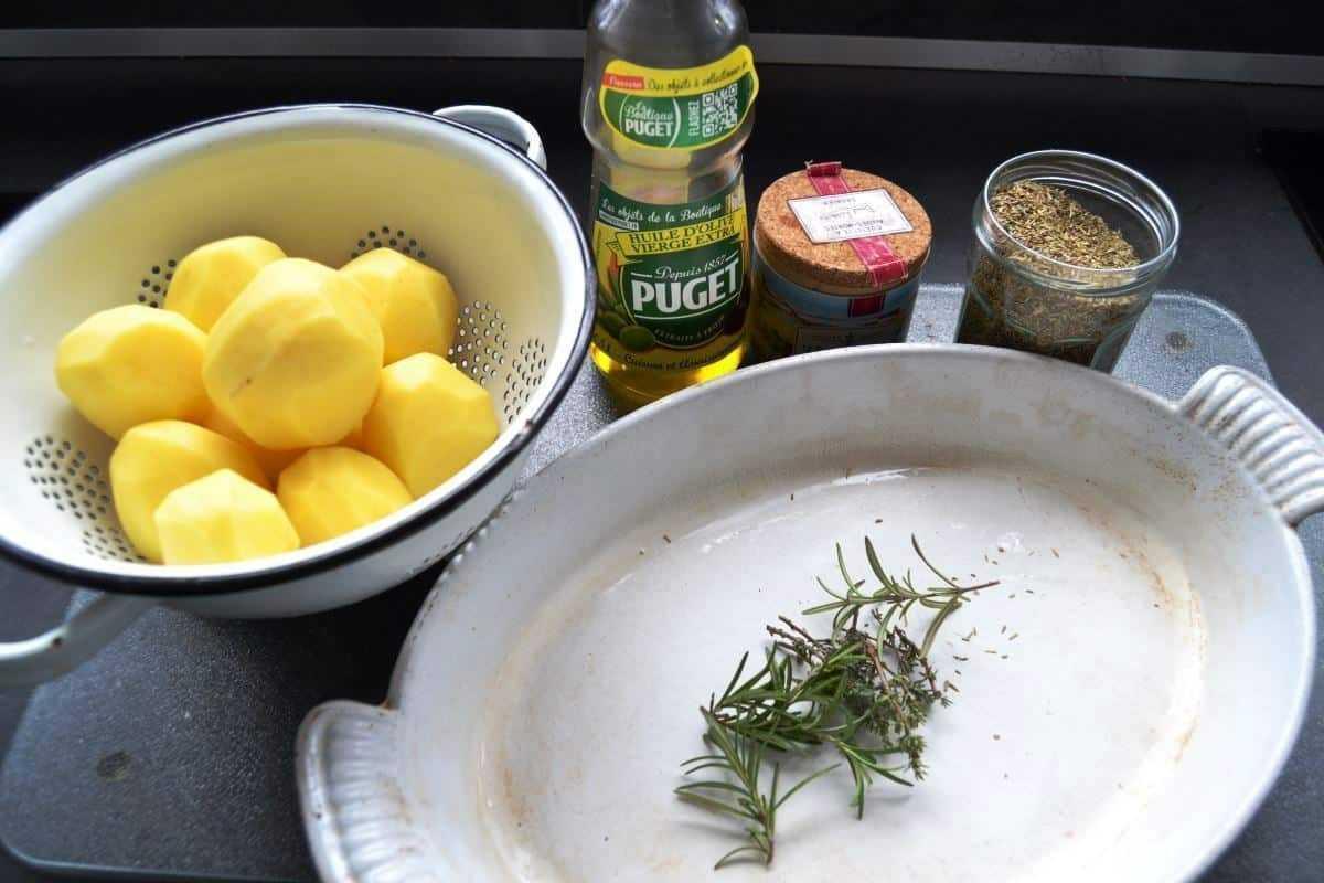 Zutaten Rosmarin Kartoffeln, Olivenöl, Salz