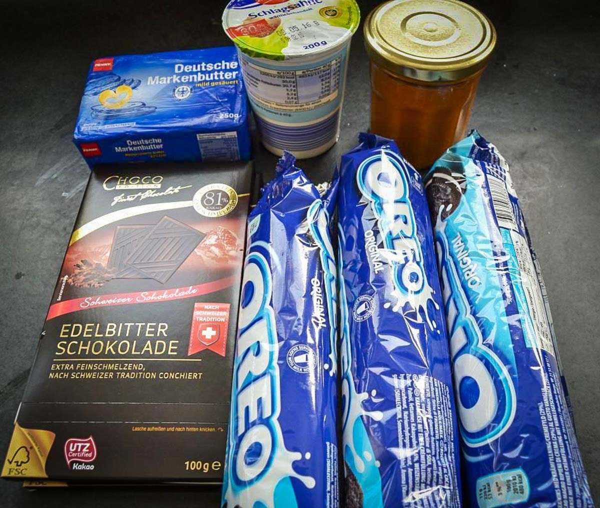 Zutaten Oreo Kekse, Schokolade, Dulce de Leche