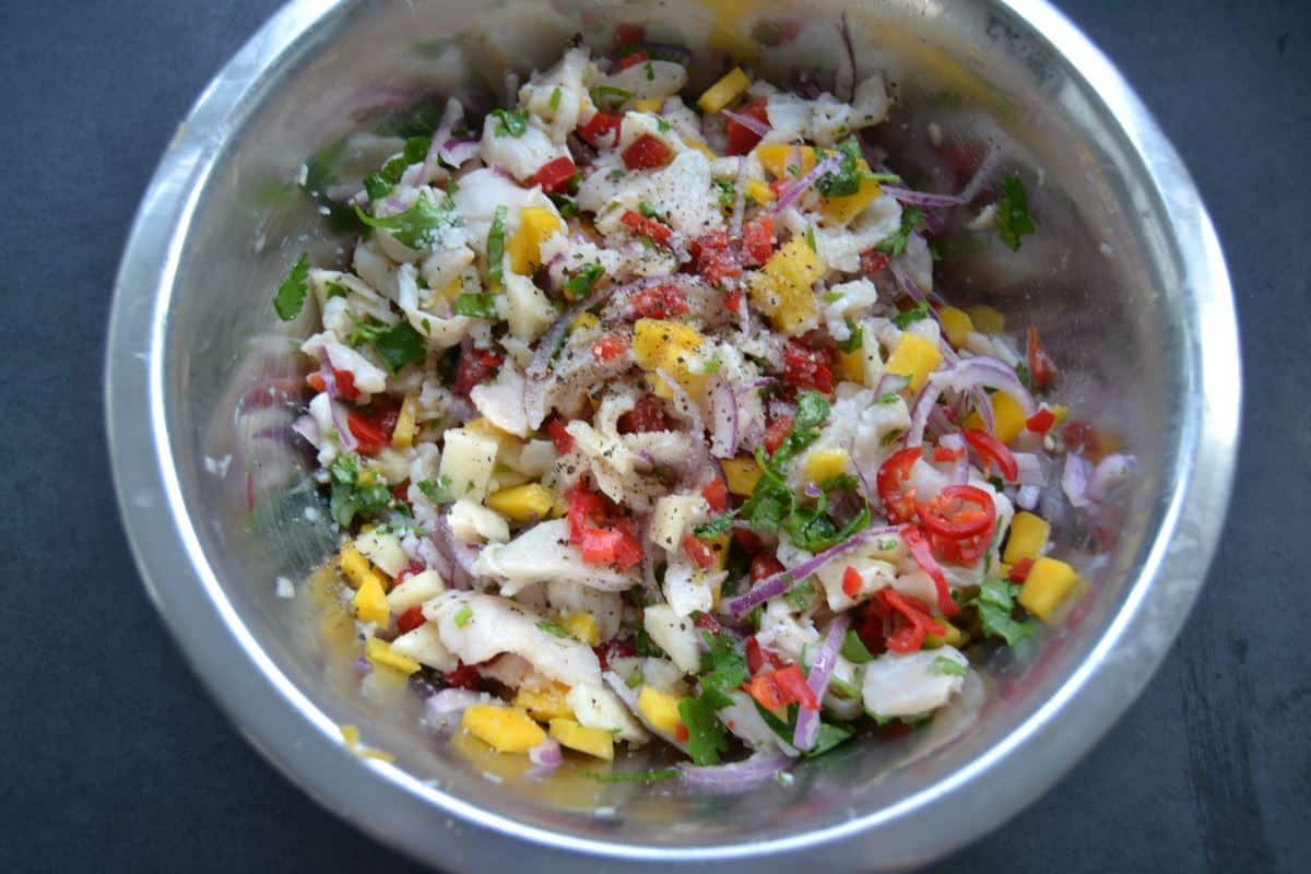 Ceviche mit Kabeljau und Mango