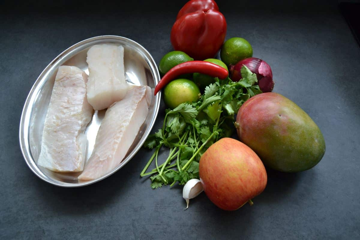 Kabeljau , Mango , Limette, Koriander , Chili ,Paprika kochen aus liebe