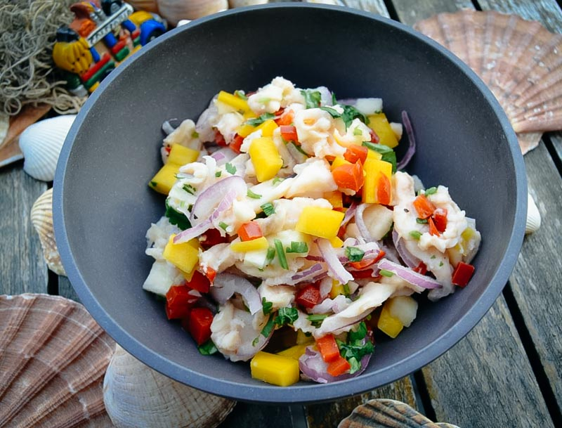 Ceviche Rezept mit Kabeljau und Mango