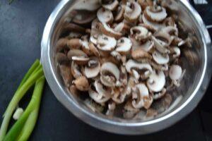 Pilze und Lauchzwiebel