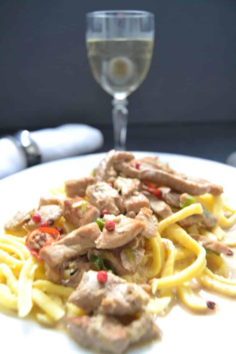 Sahne Weißwein Geschnetzeltes mit Spätzle