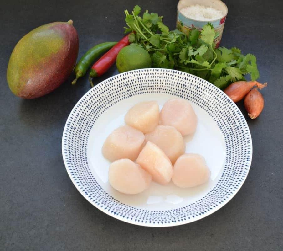 Jakobsmuscheln, Mango,Chili und Koriander