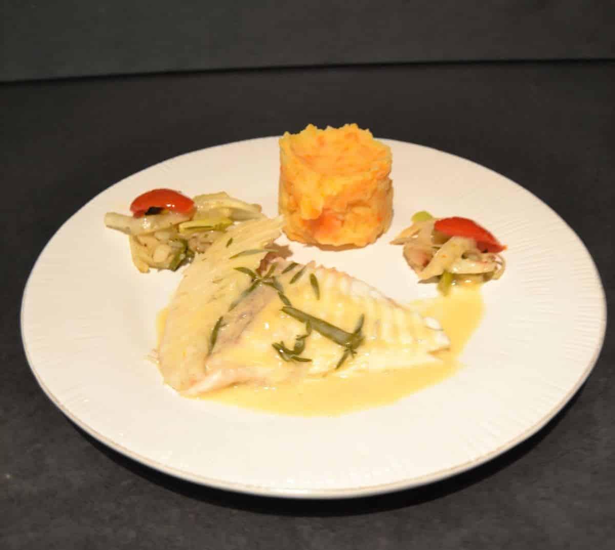 Steinbutt aus dem-Ofen mit Estragonsauce und Möhrenpüree kochen aus liebe