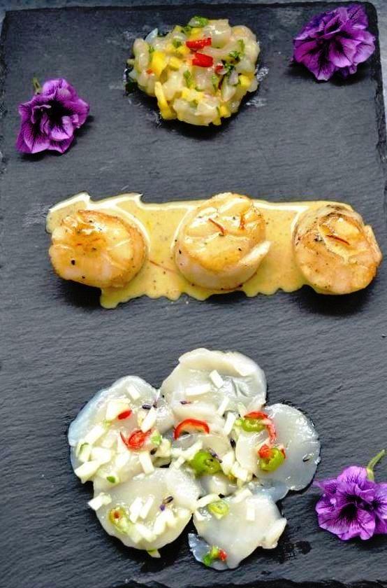 jakobsmuschel-ceviche- Jakobsmuschel mit Safransauce und Jakobsmuschel carpaccio -kochen-aus-liebe-