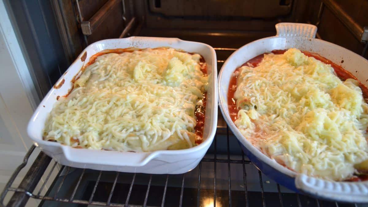 Cannelloni mit Ricotta Spinat und Käse in Tomatensauce