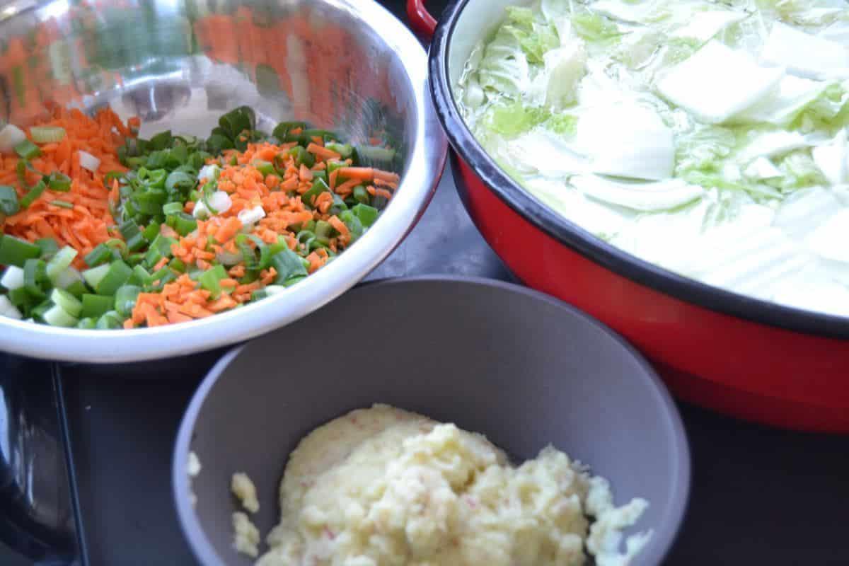 Kimchi - Chinakohl, Möhre, Lauchzwiebel , Ingwer und Knoblauch