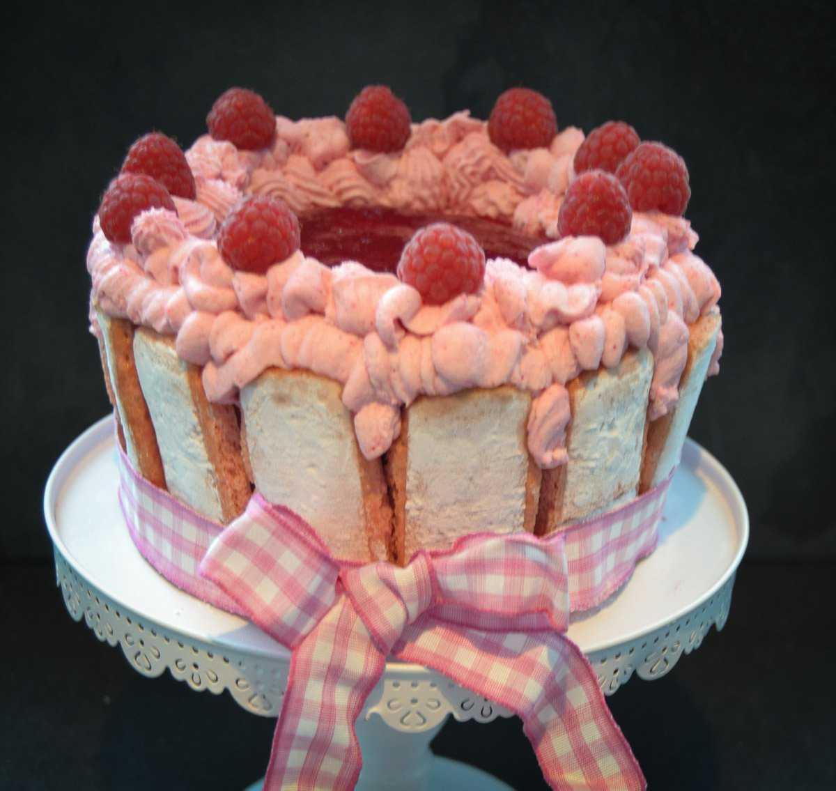 No Bake Kuchen Löffelbiskuit Charlotte mit Himbeeren