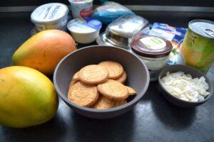 Mango , Frischkäse, Sahne , Kekse , Kokosmus