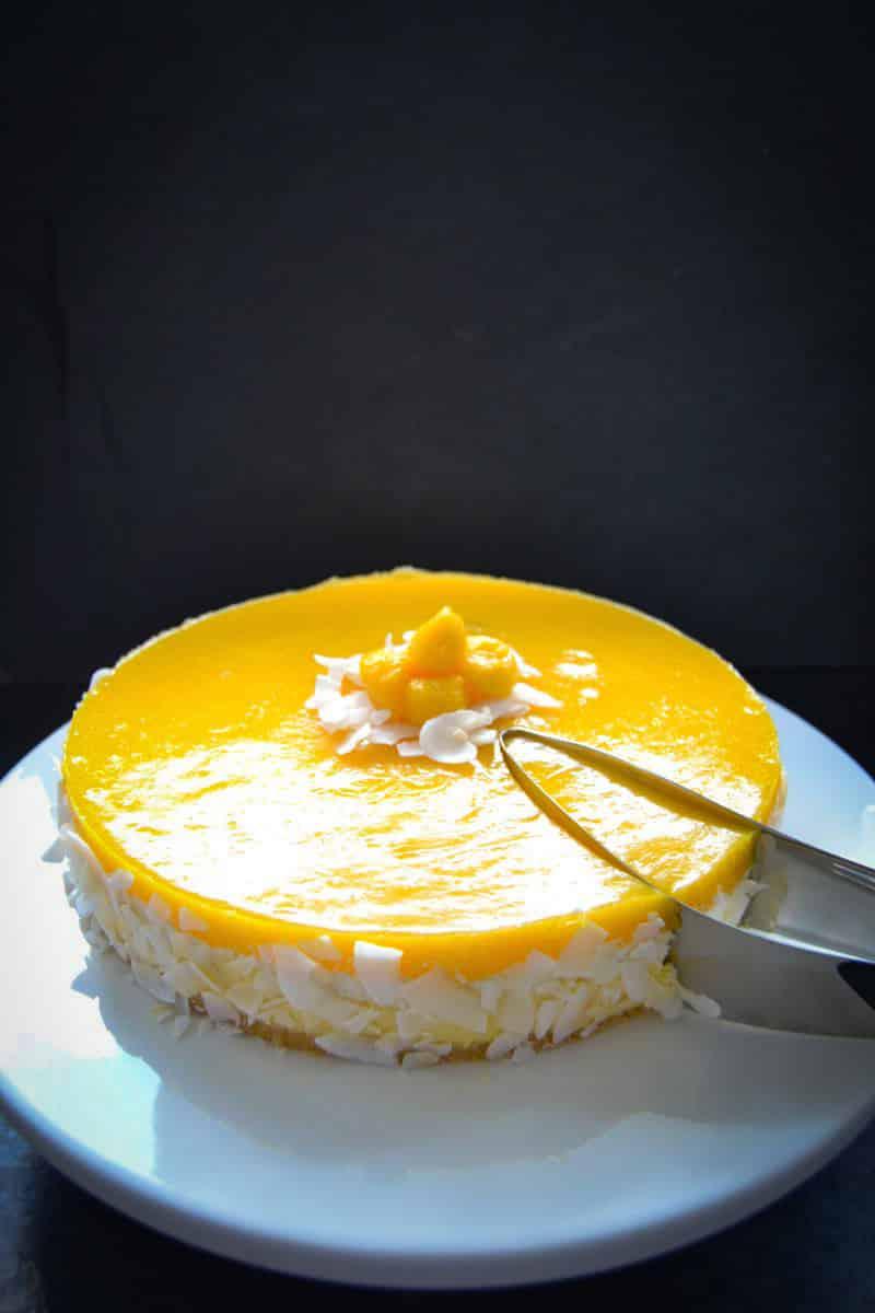 Mango Torte mit Kokos und Fruchtspiegel
