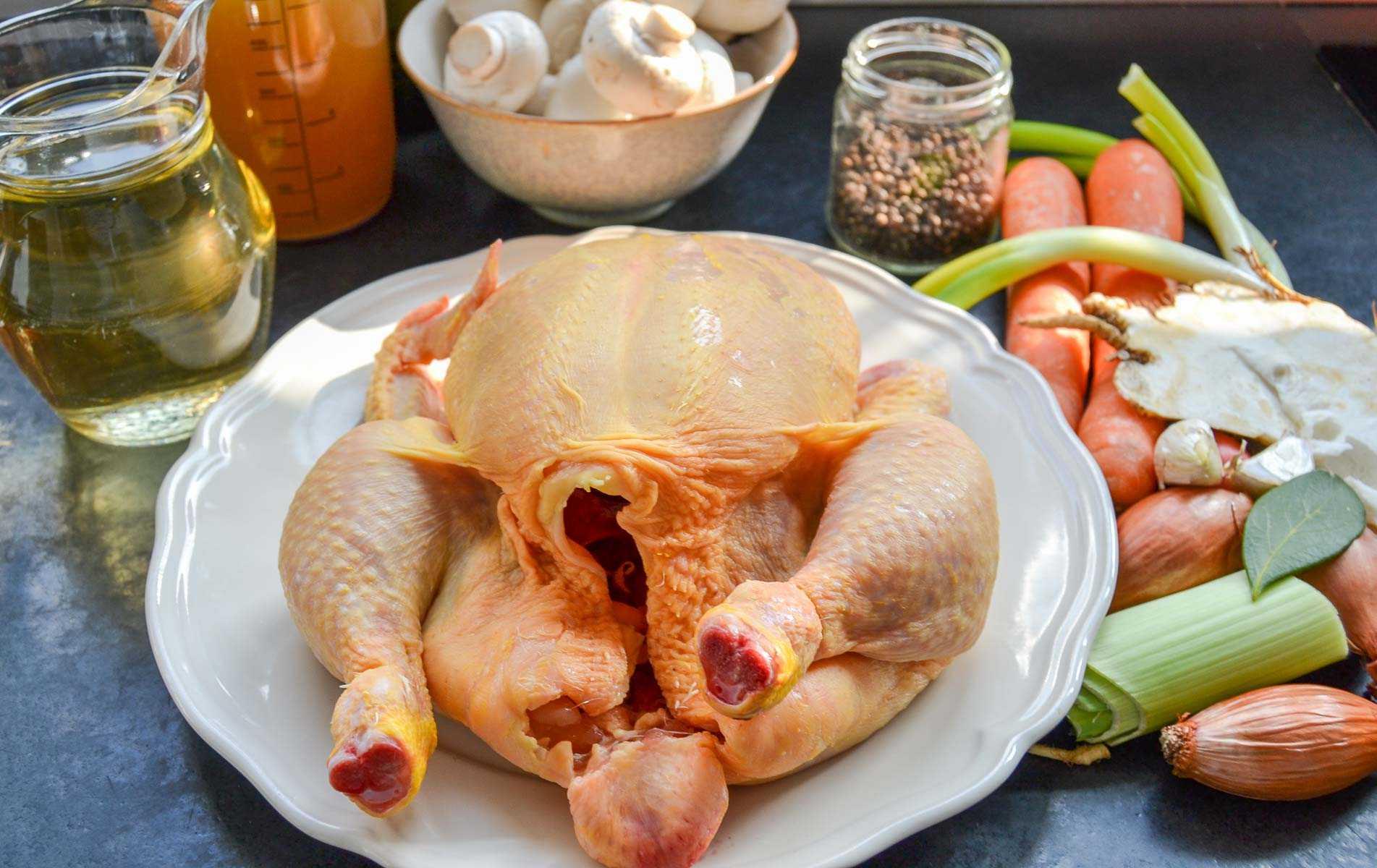 Zutaten, Huhn, Riesling, Möhre, Lauch, Sahne, Hühnerbrühe und Speck