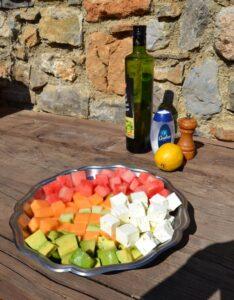 Melonen,Gurken , Feta und Avocadow?rfel