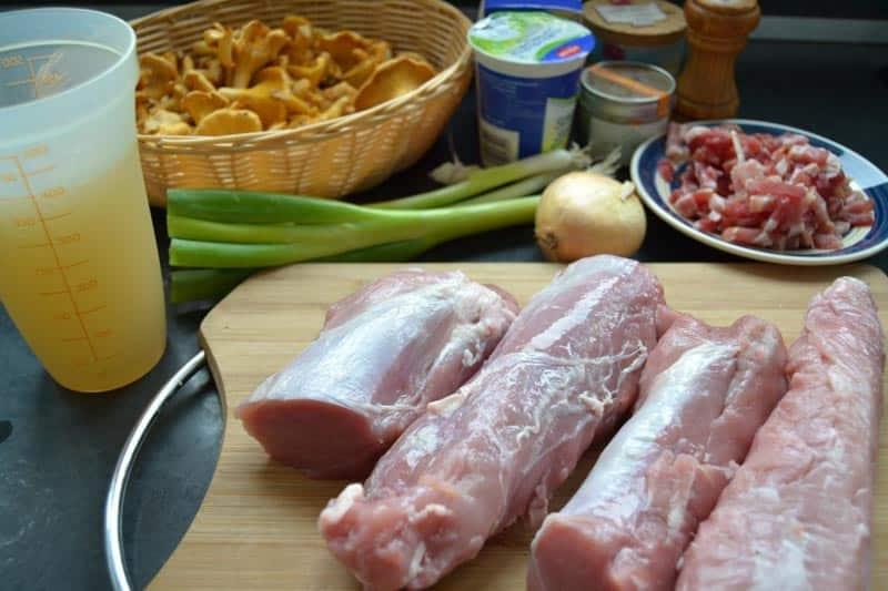 Schweinefilet, Pfifferlingen, Bacon, Lauch Zwiebel und Sahne