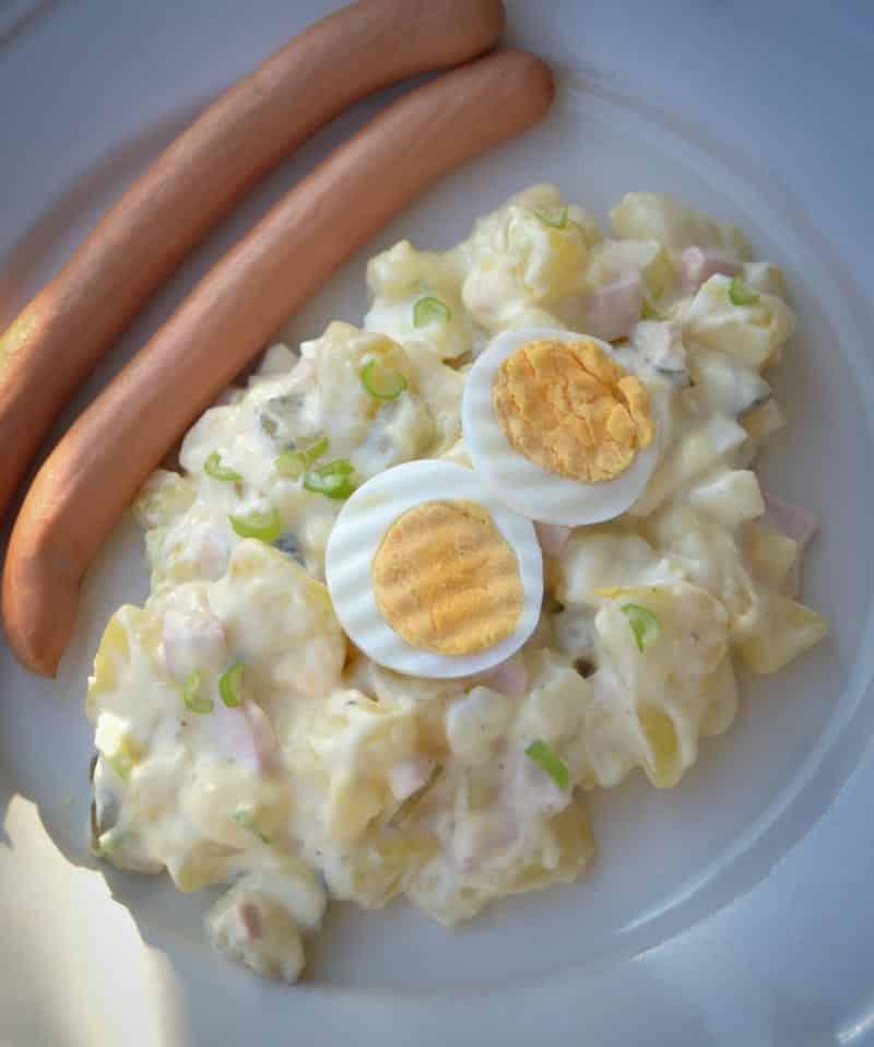 Rezepte Kartoffelsalat mit Mayonnaise Ei und Würstchen