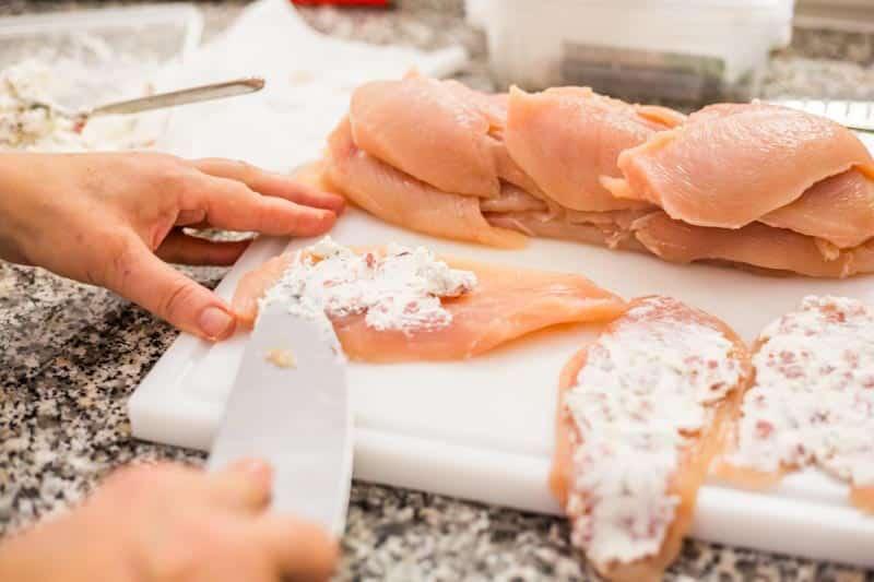 Hähnchenbrust mit Feta gekocht auf dem Bloggerday Food professionals