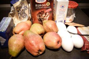 Zutaten Schokoladen-Birnenkuchen