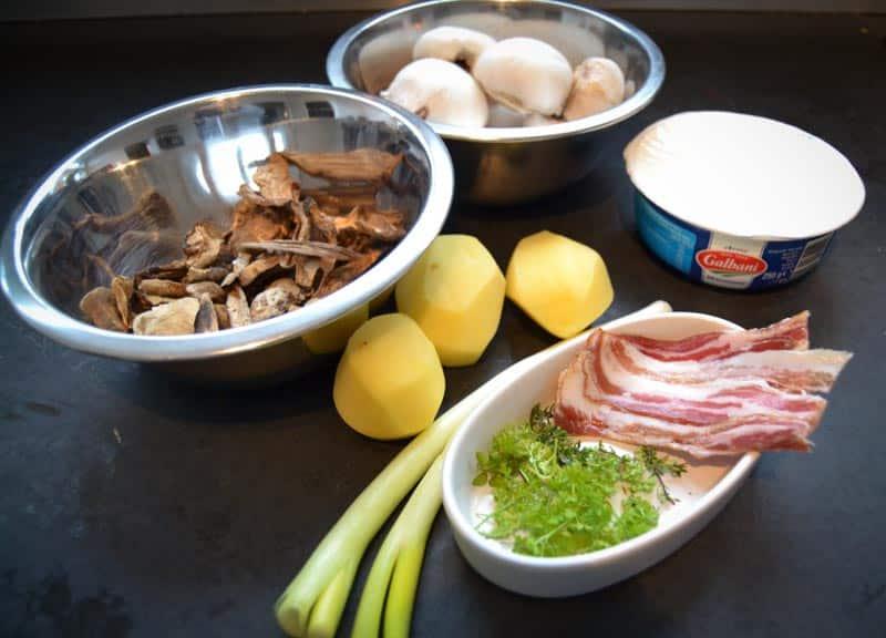 Steinpilze, Pancetta, Lauchzwiebel, Kartoffeln, Mascarpone und Champignons