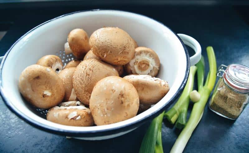 braune Champignons , Lauchzwiebel , Pilzgewürzsalz und Knoblauch