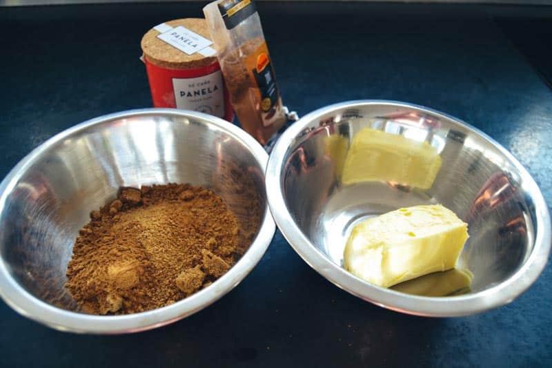 Zimt , Butter und Panela brauner Rohrzucker