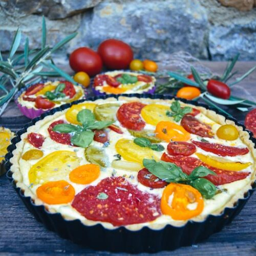 Tomatentarte Tomaten Quiche Rezept mit Ziegenfrischkäse