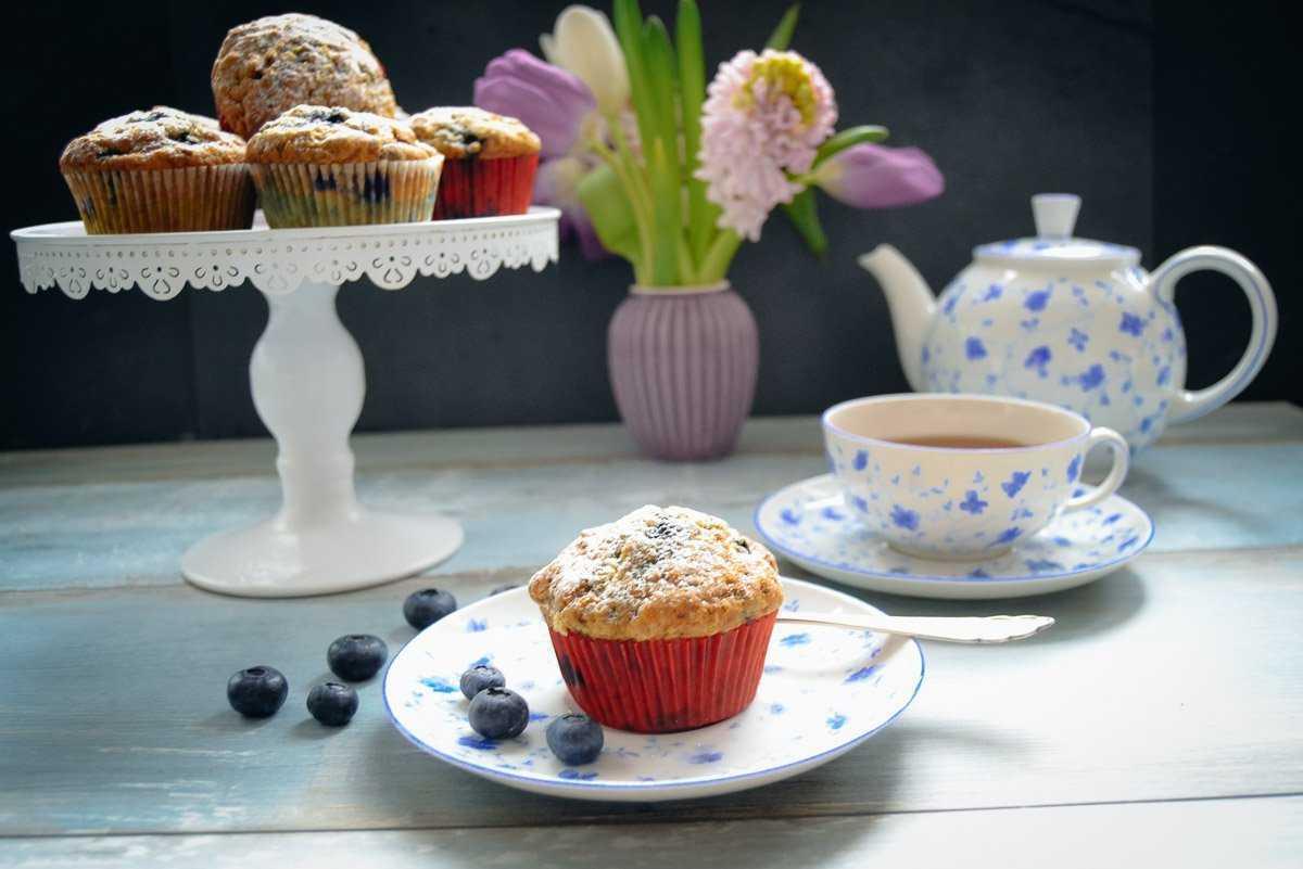 Buttermilch Muffins Rezept mit Blaubeeren
