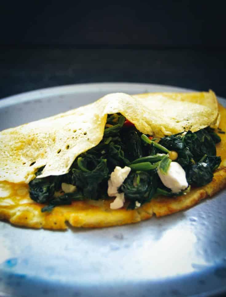 Pfannkuchen Grundrezept mit Spinat und Feta