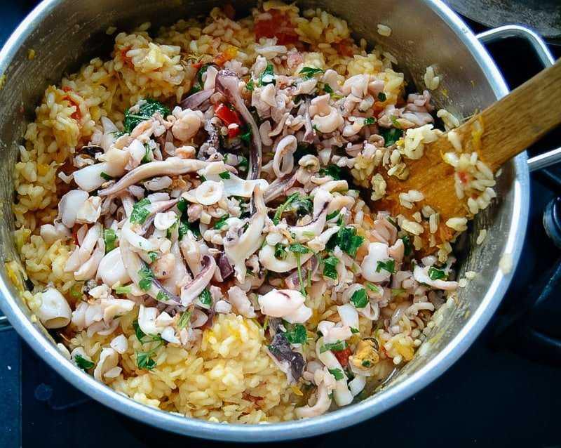 Risotto Rezept Risotto mit Garnelen und Meeresfrüchten