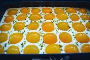 Spiegeleikuchen Rezept Schmandkuchen Blech mit Aprikosen