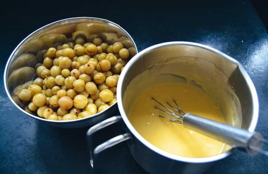 Pudding mit Saft kochen und Stachelbeeren