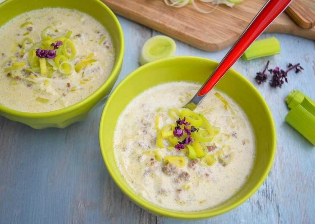 Käse Lauch Suppe Rezept mit Hackfleisch