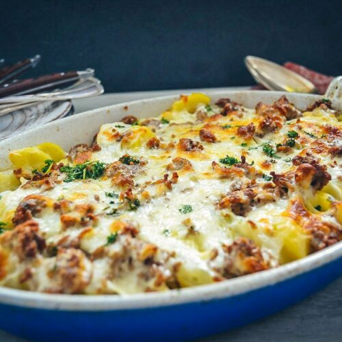 Kohlrabi Auflauf mit Kartoffel und Hackfleisch