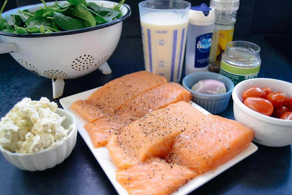 Zutaten Lachs, Spinat, Tomaten, Sahne Bressot und Schalotte