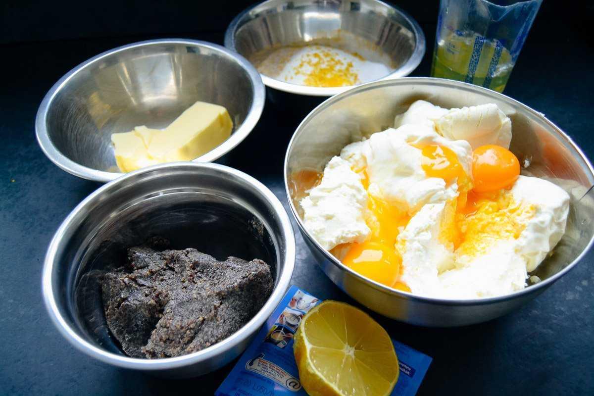 Zutaten Quark, Eier, Butter, Zucker und Mohn
