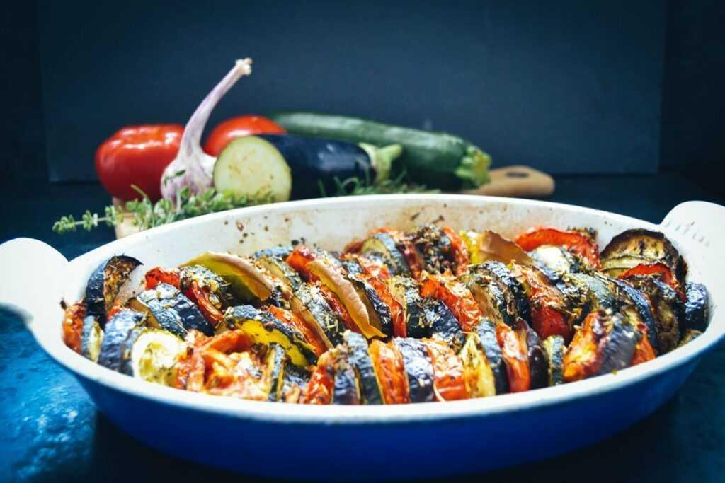 Gemüseauflauf Rezept mit Zucchini, Aubergine und Tomate Tian provencal