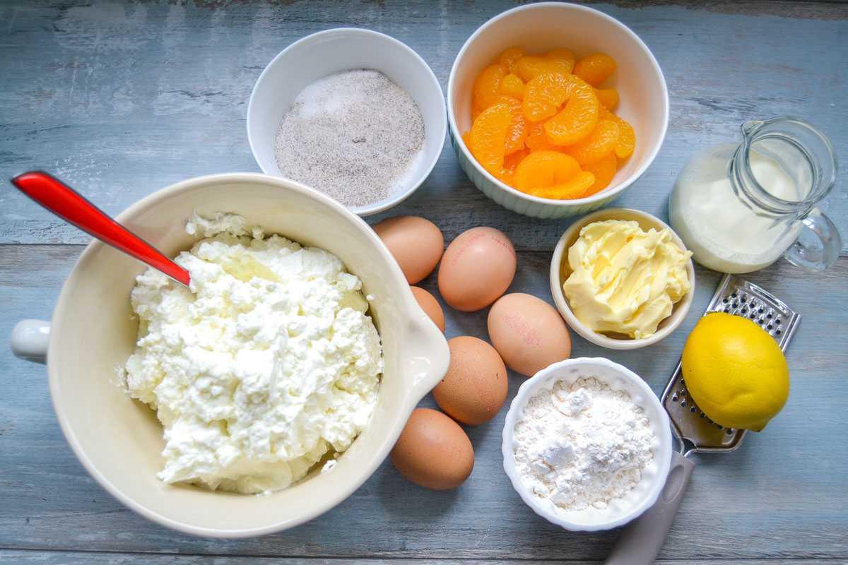 Zutaten Käsekuchen ohne Boden mit Mandarinen